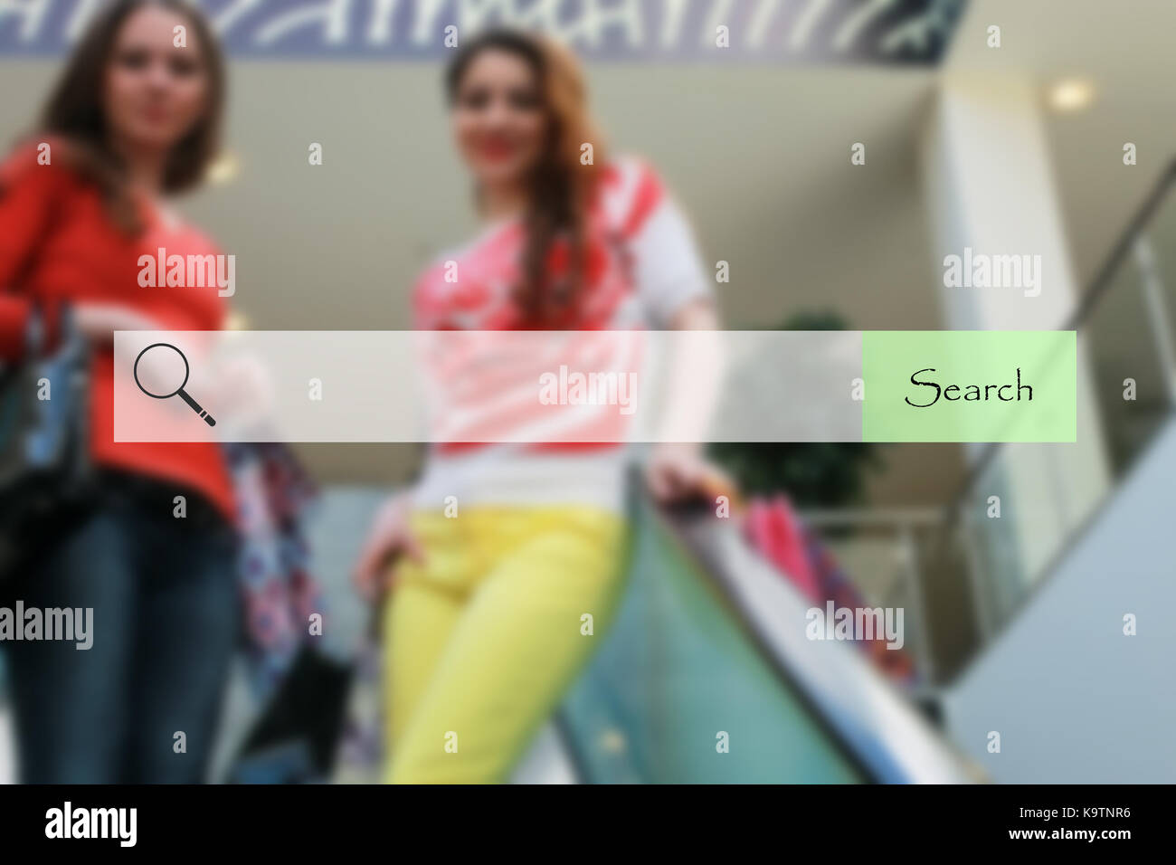 search bar on blurred background shopping young girls - Stock Image