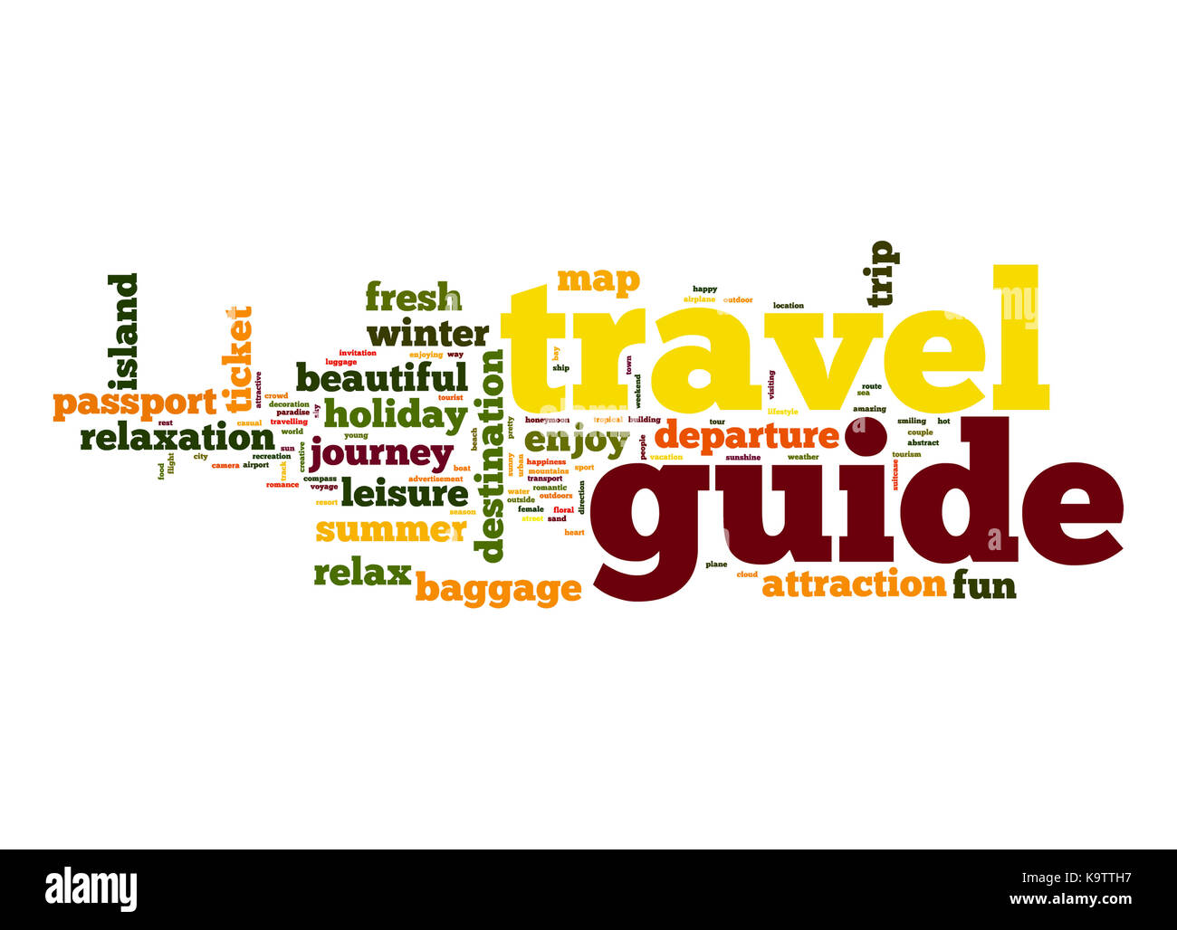 Travel guide word cloud - Stock Image