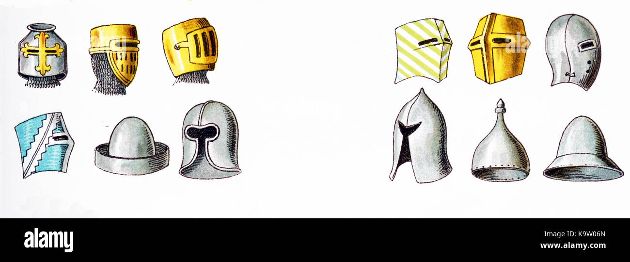 This illustration with twelve helmets shows the type of helmets being used in Europe in the 13th century—from 1200 - Stock Image