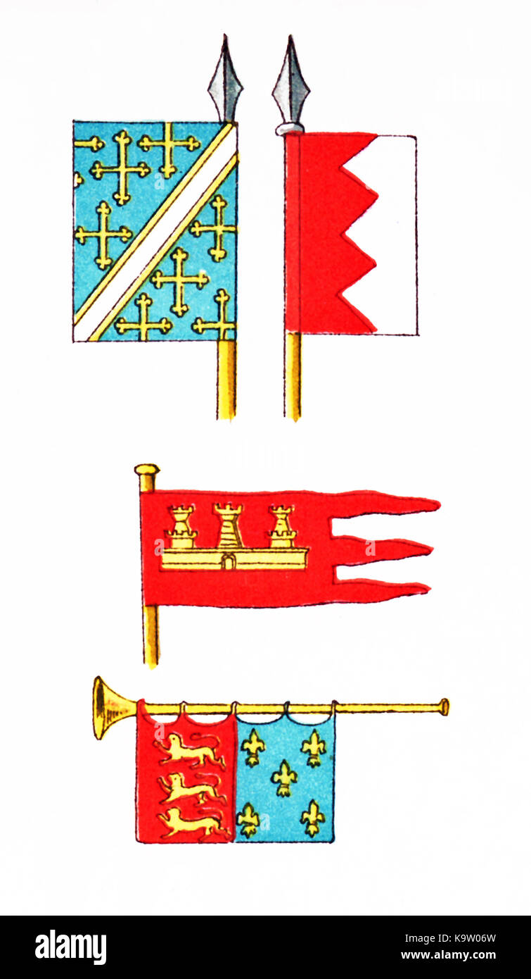 At top are shown two standards. In the middle is a Castilian ensign. At bottom is a trumpet with a banner showing - Stock Image