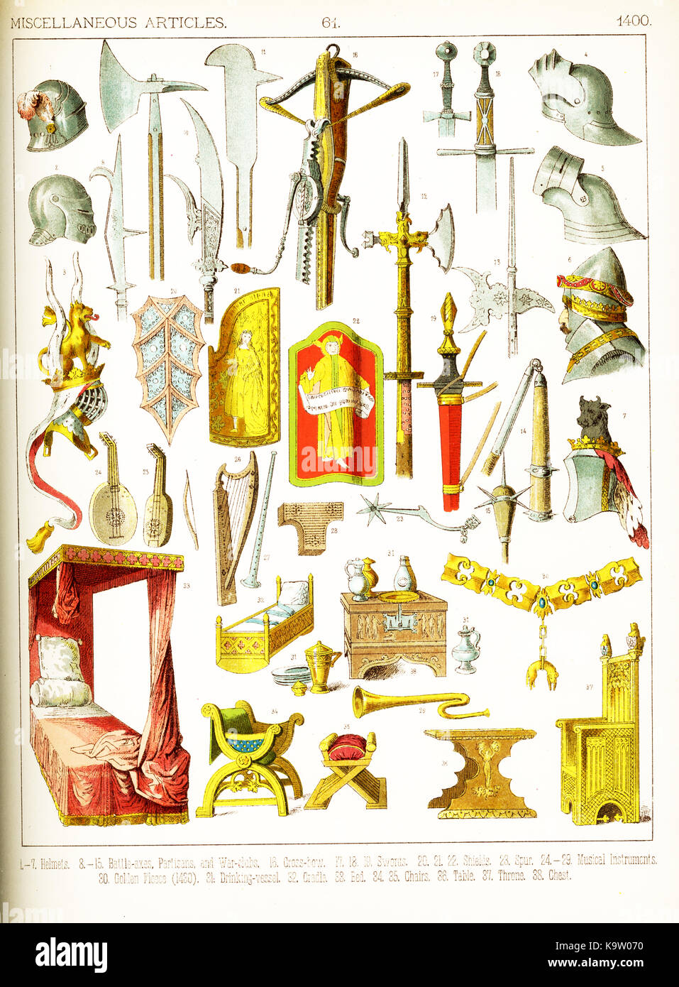 The medieval artifacts shown here are European and date to around 1400. They are: 1-7: helmets; 8-15: battle axes, - Stock Image