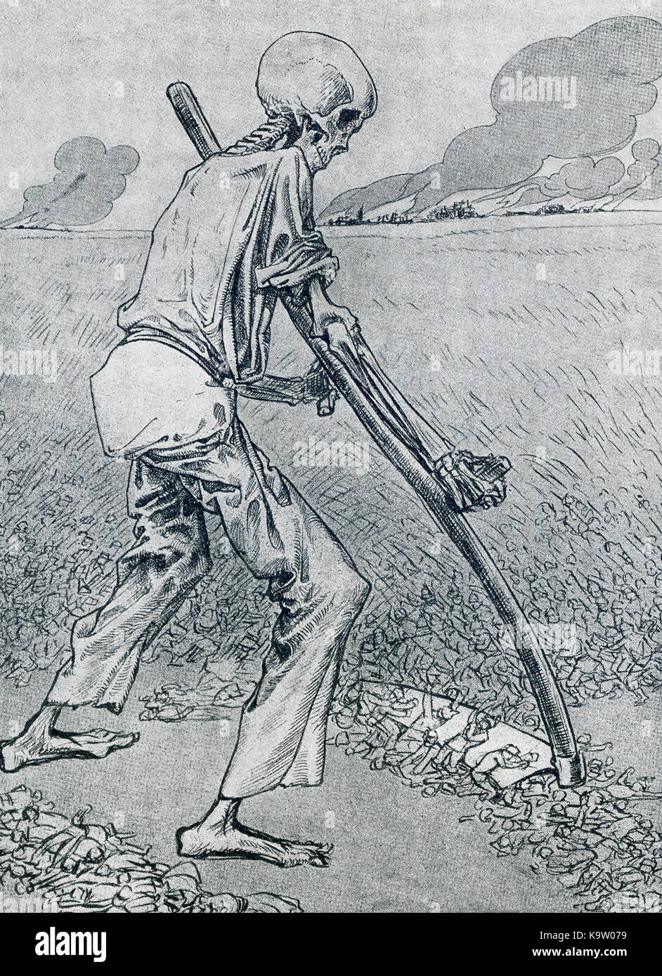 This illustration, a caricature, dates to 1917. It shows 'Death' with a sickle, mowing down soldiers during - Stock Image