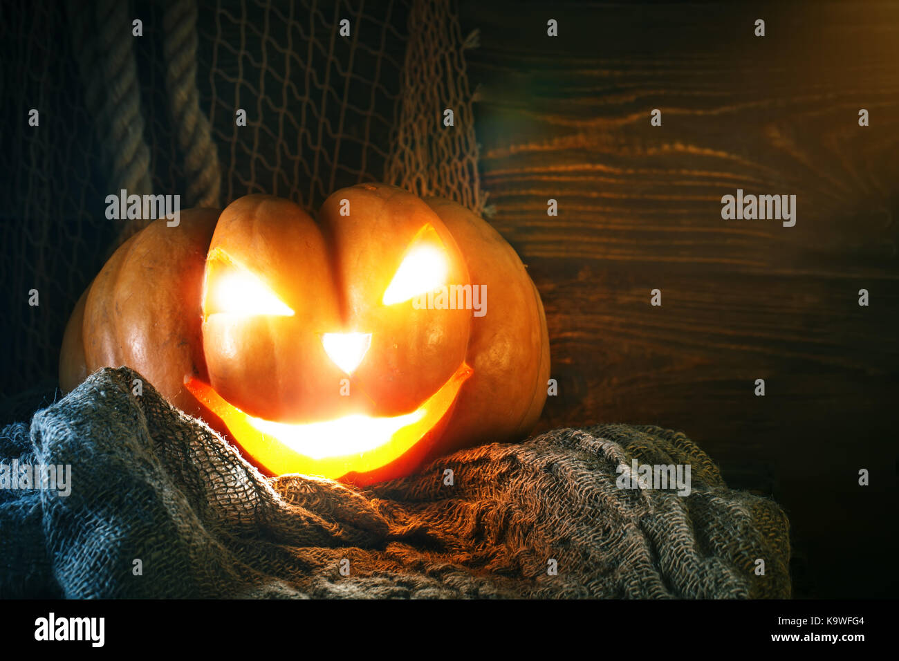 halloween pumpkins on a wooden table at night halloween stock image