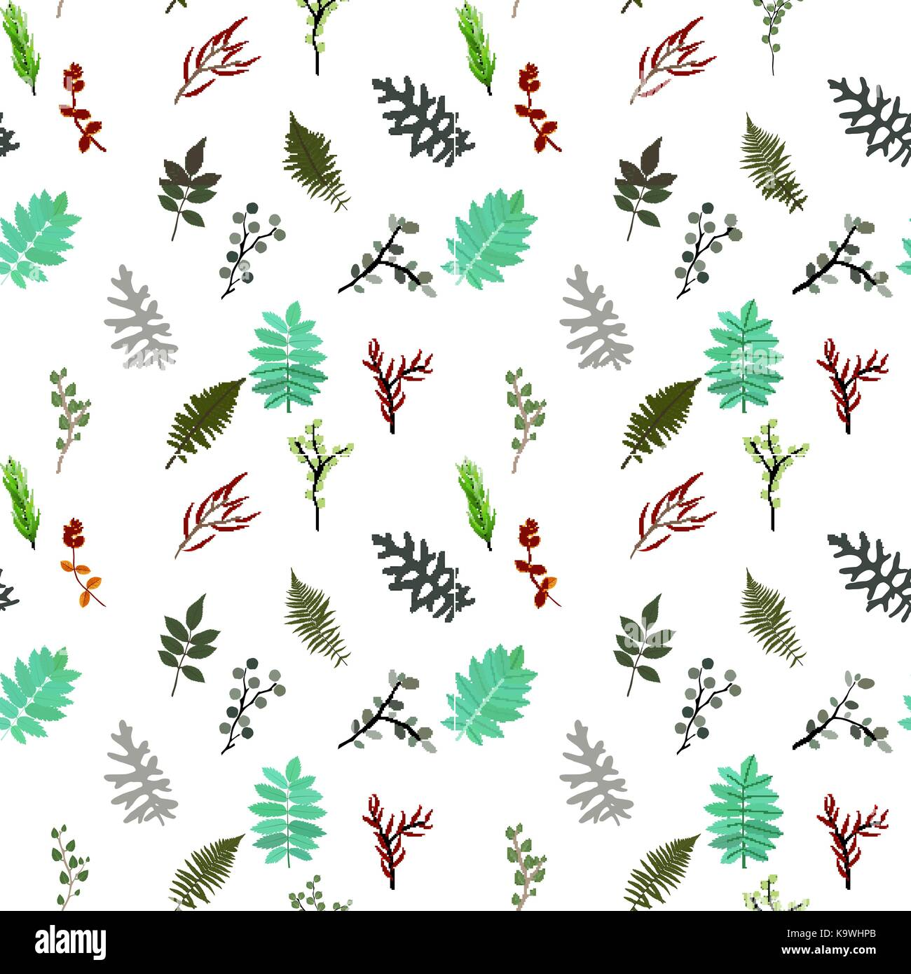 Tropical elements: Agonis, Eucalyptus, Annona, Balata, Zamiokulkas, Cissus. seamless pattern. Vector Illustration. - Stock Vector
