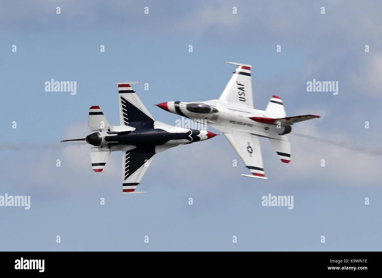 Beijing, USA. 16th Sep, 2017. U.S. Air Force Thunderbirds perform aerobatics during an air show celebrating the Stock Photo