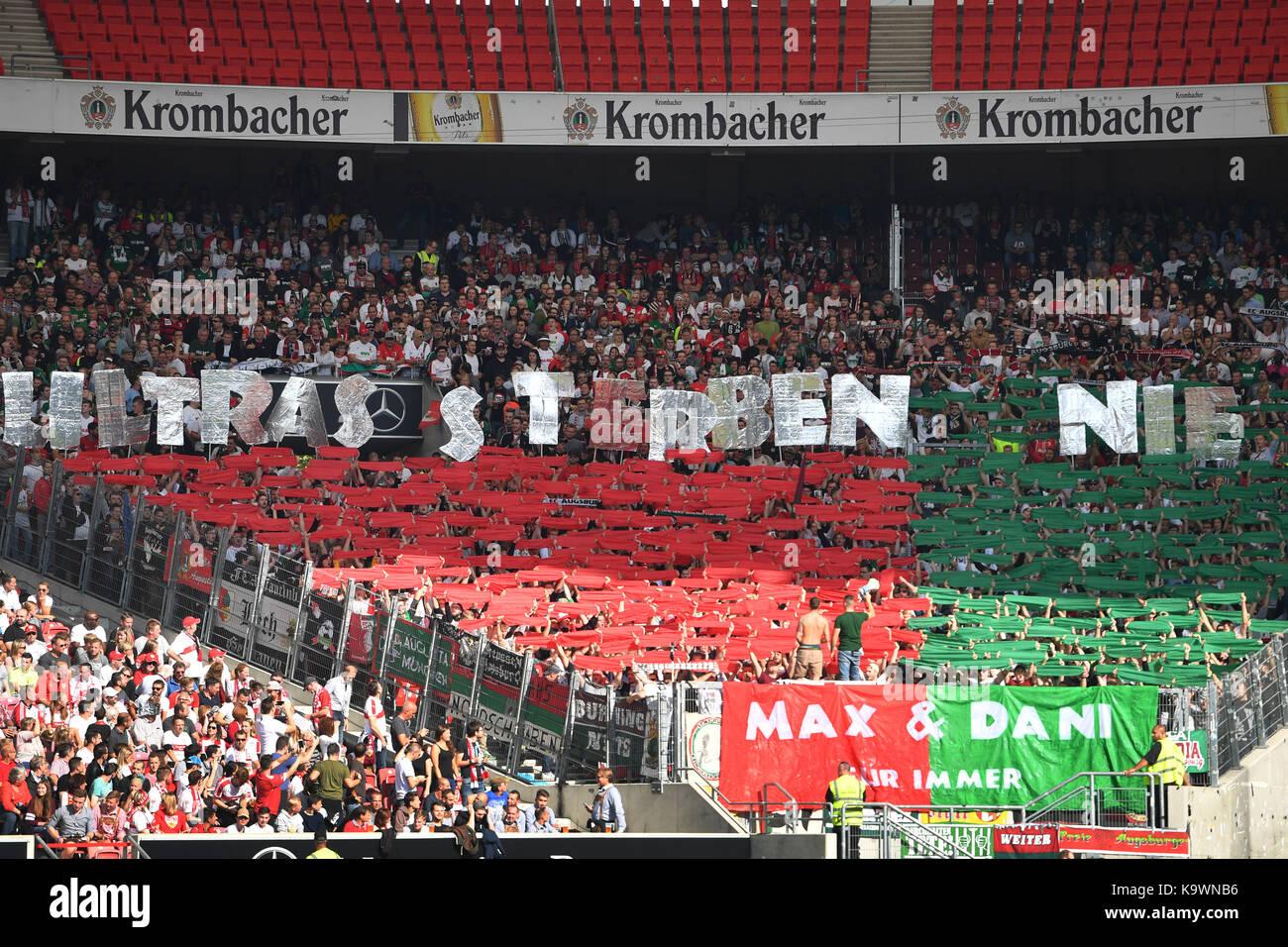 Augsburger Ultras Fans, Fussballfans as, Fans, Fussballfans.Fanblock, Fussball 1. Bundesliga, 06.Spieltag, Spieltag06, - Stock Image