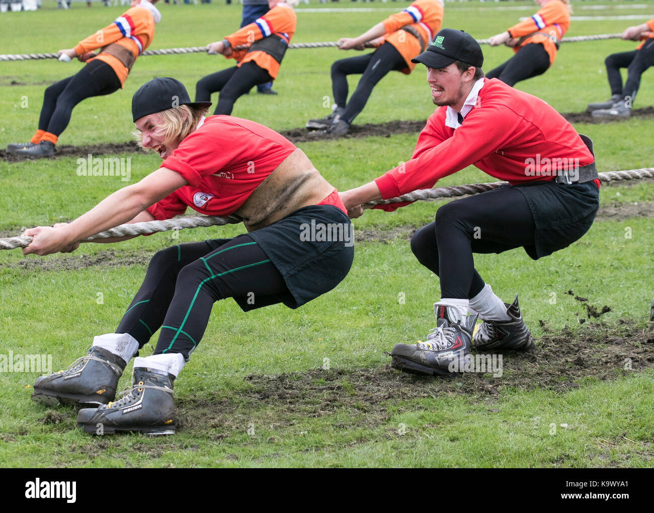 Teamwork, rope challenge, sporting event at Southport, Merseyside, UK  24th September, 2017. Swizerland team at - Stock Image