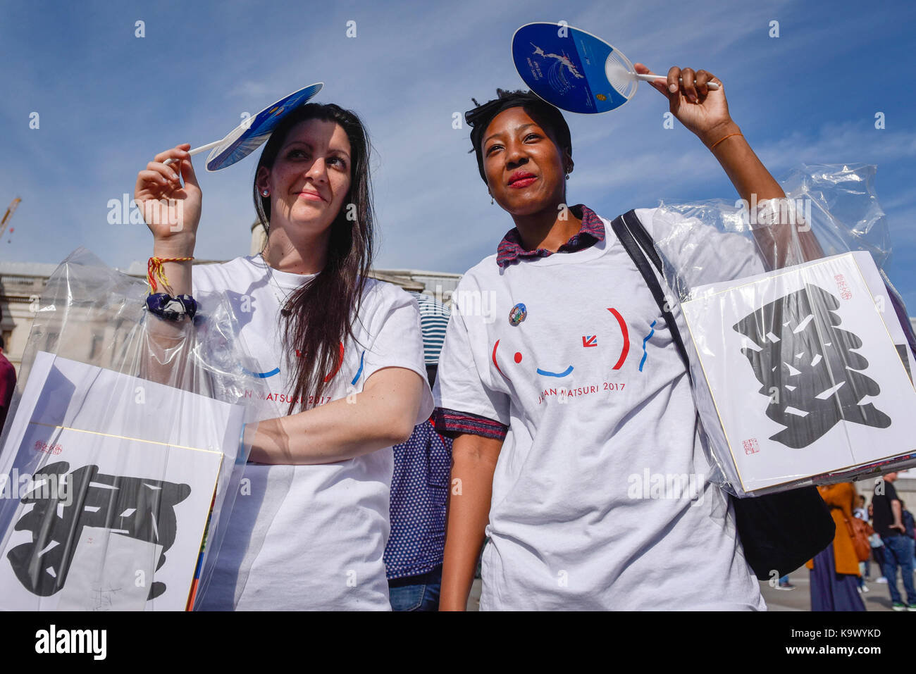 London, UK.  24 September 2017.  Volunteers at the 9th annual Japan Matsuri taking place in Trafalgar Square, bringing Stock Photo