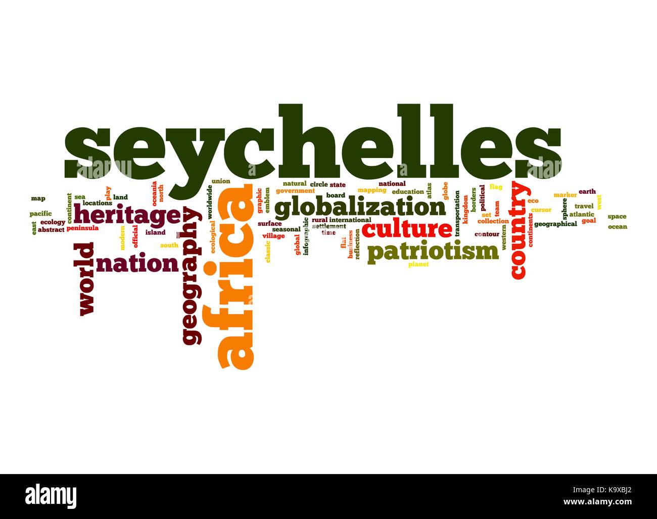 Seychelles word cloud - Stock Image