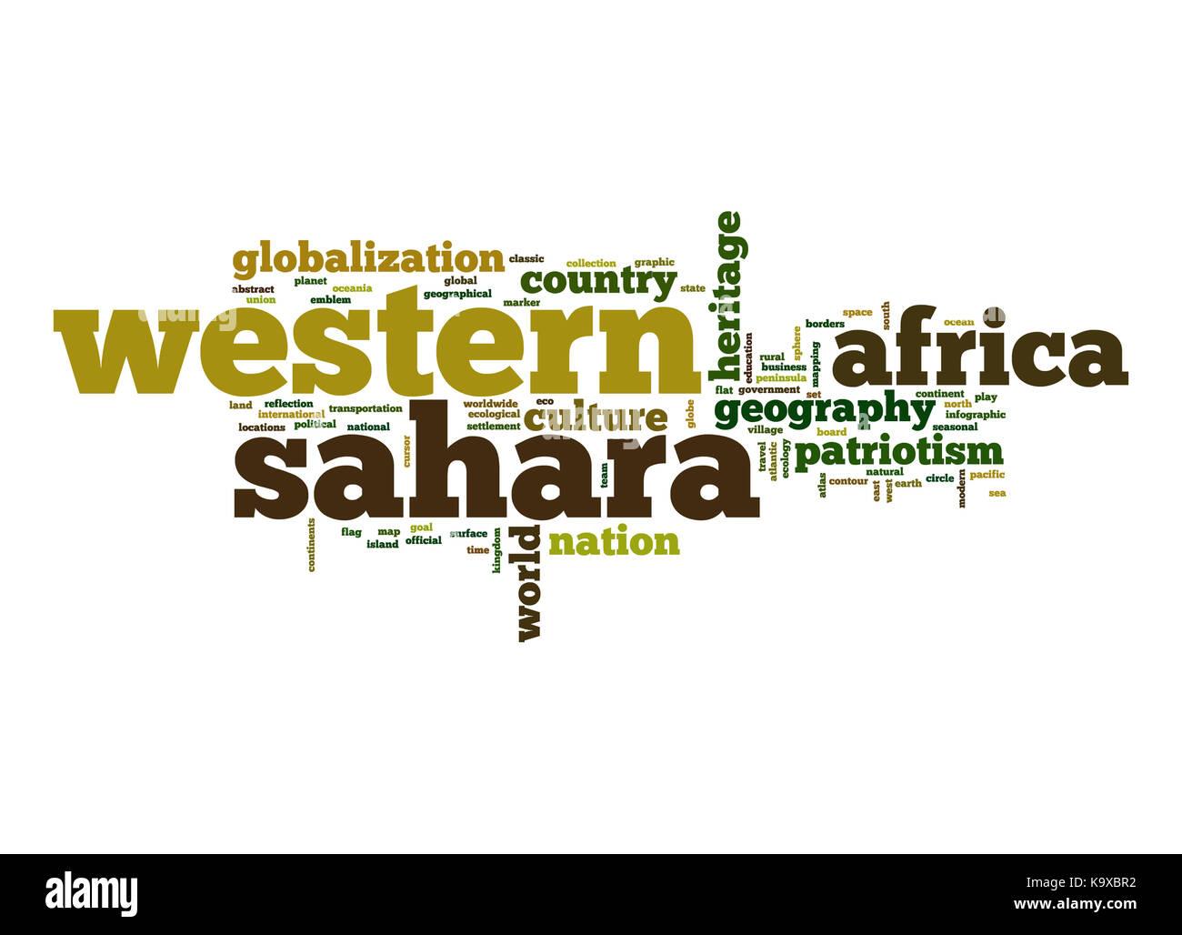 Western Sahara word cloud - Stock Image