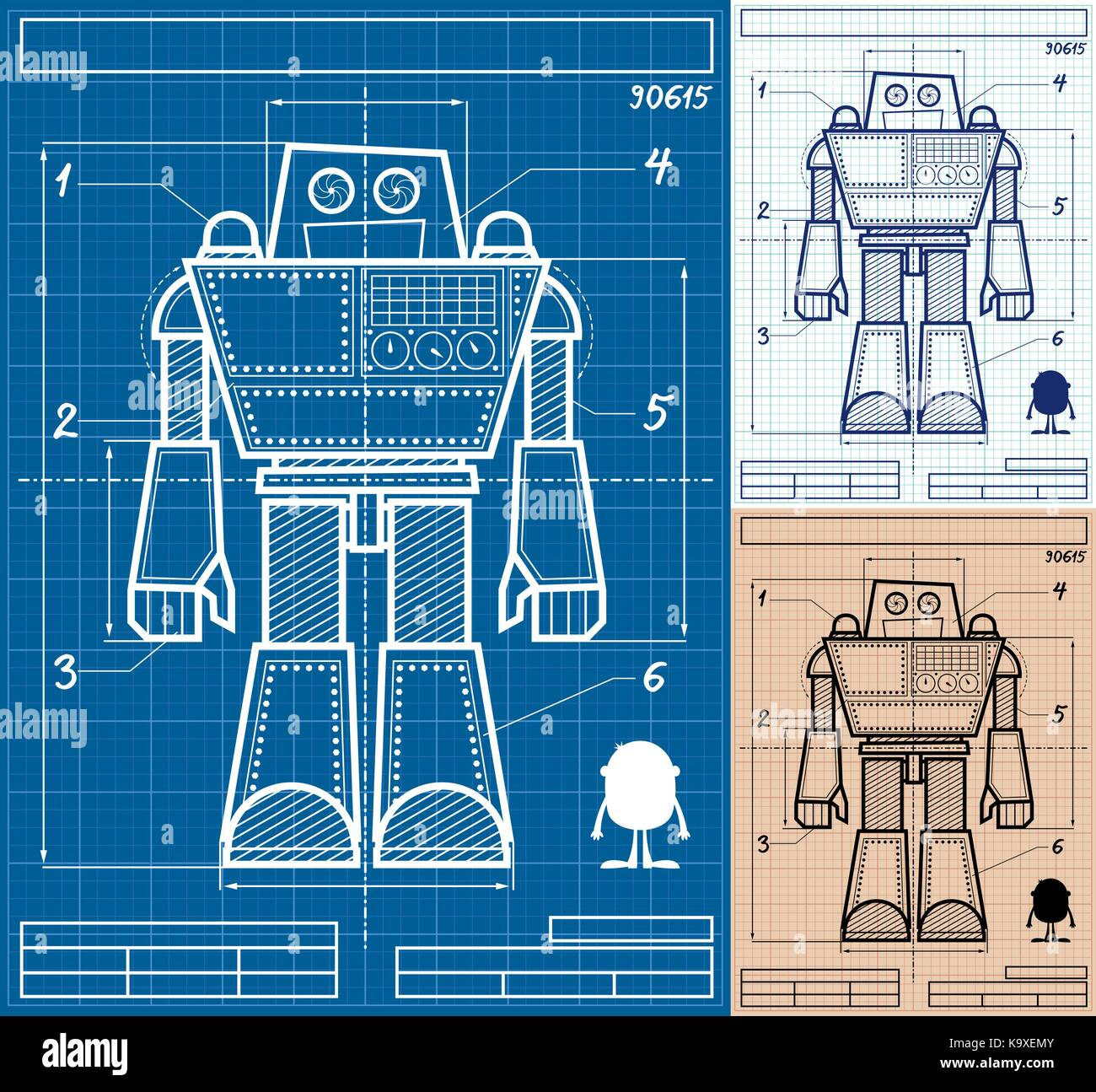 Cartoon blueprint of giant robot in 3 versions stock vector art cartoon blueprint of giant robot in 3 versions malvernweather Gallery