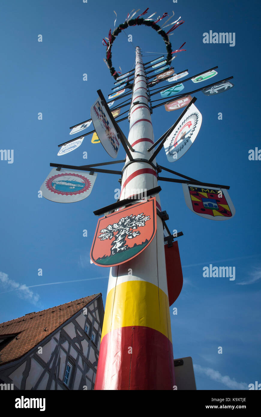 A Maypole in the town of Walldorf, Baden-Württemberg, Germany. - Stock Image