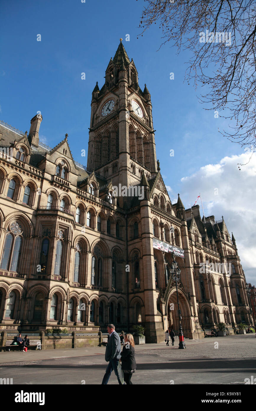 Manchester Town Hall, a Victorian Gothic building in Albert Square, Manchester, England - Stock Image