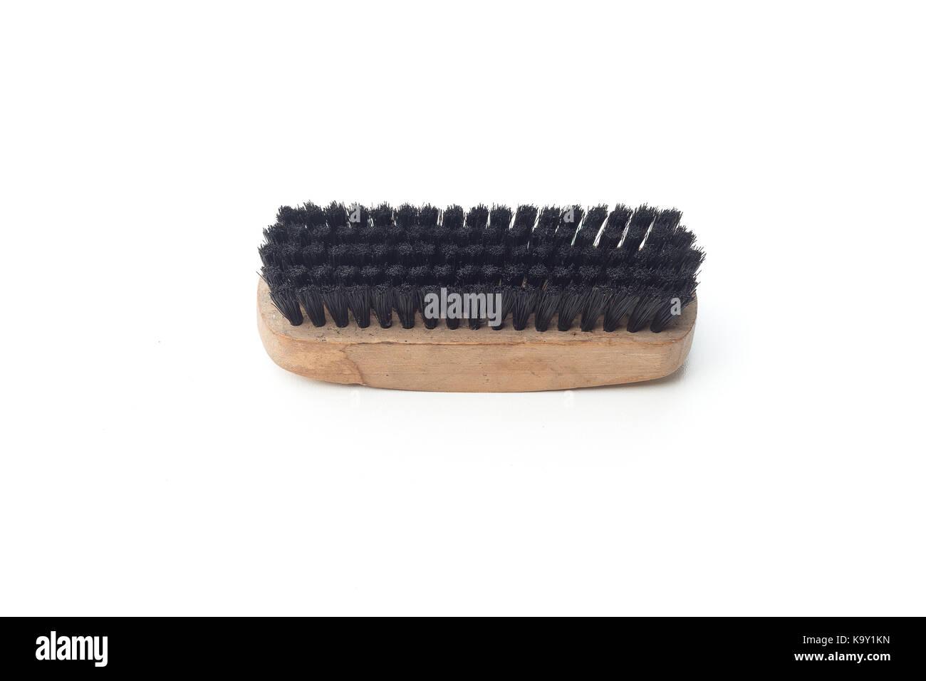 Old shoe brush isolated on white background - Stock Image