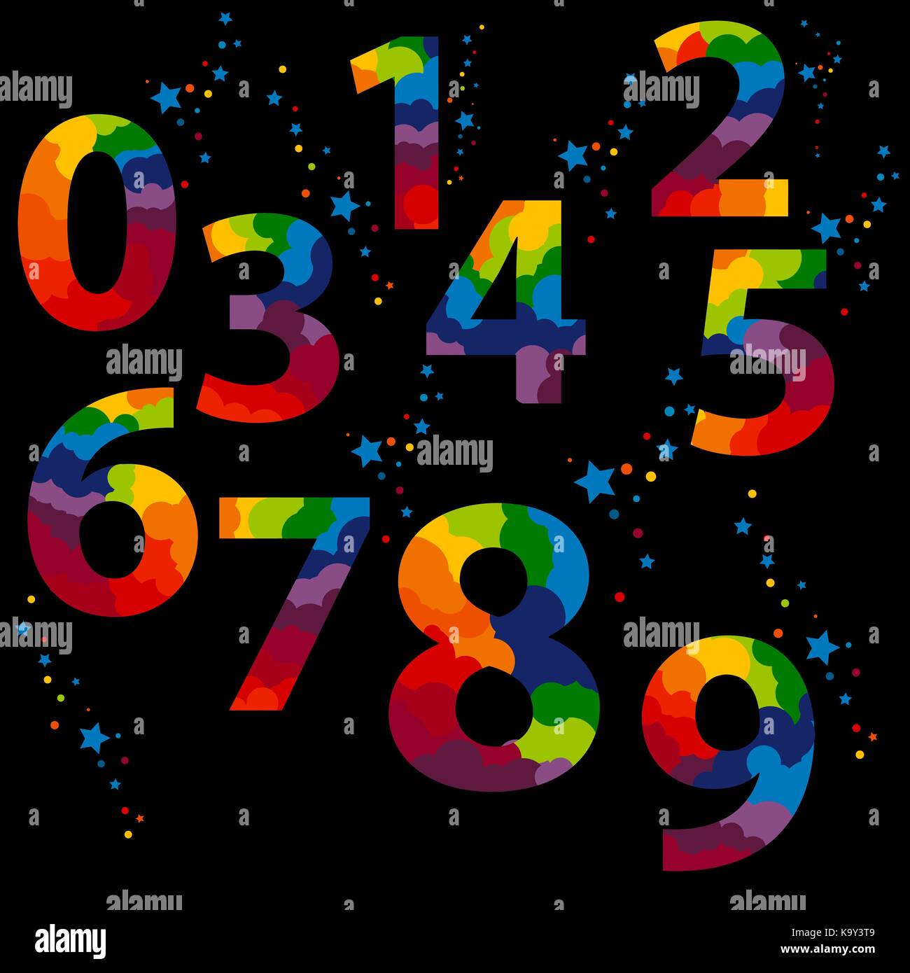 colorful Numbers set logos at black background. A splash of stars and candy above each sign. - Stock Image