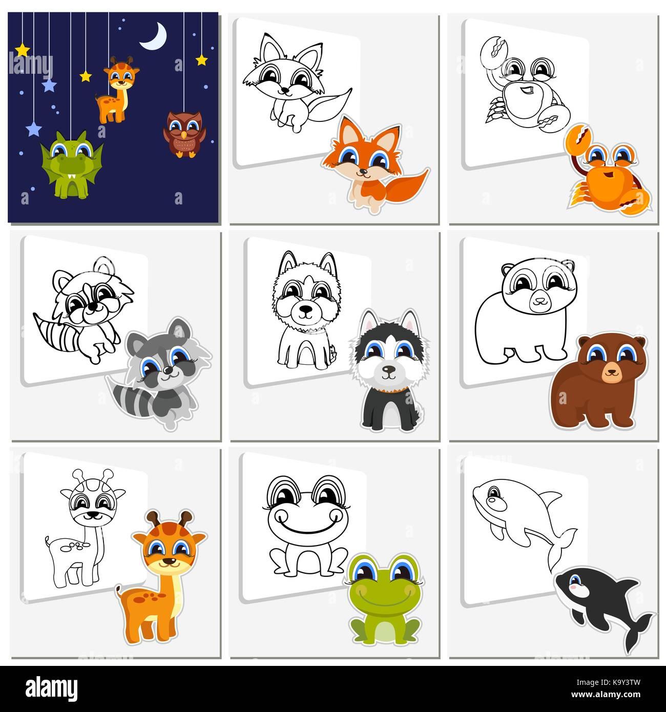 Cartoon animal set. Childish collection cute animals that ...