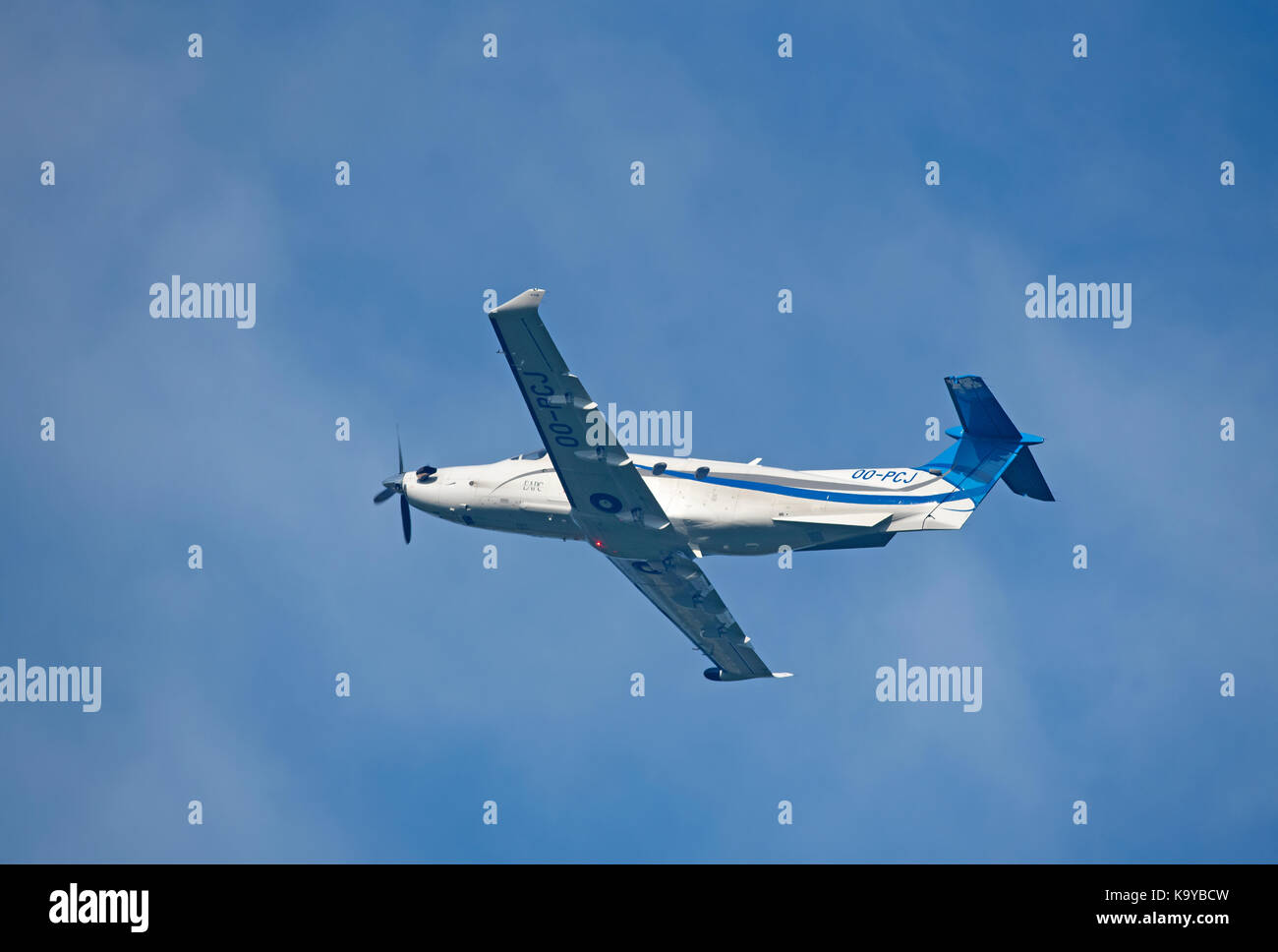 Pilates PC12 NG departing Inverness airport in Highland Scotland. Stock Photo