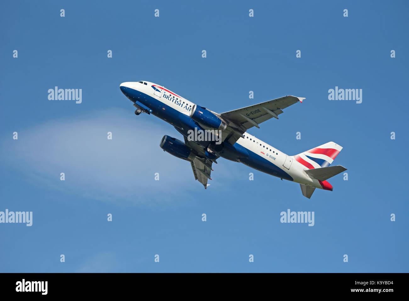 British Airways 319-131 flight departing Inverness for London Heathrow on its daily scheduled flight Stock Photo