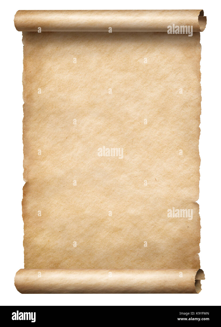 Old paper scroll or parchment isolated vertically oriented 3d illustration - Stock Image
