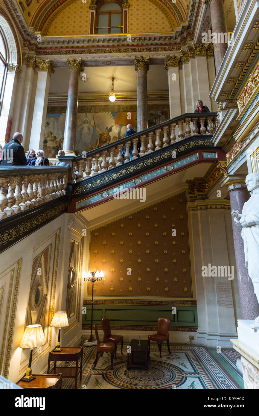 The Grand Staircase of he Foreign and Commonwealth Office,  designed by George Gilbert Scott, historic building Stock Photo