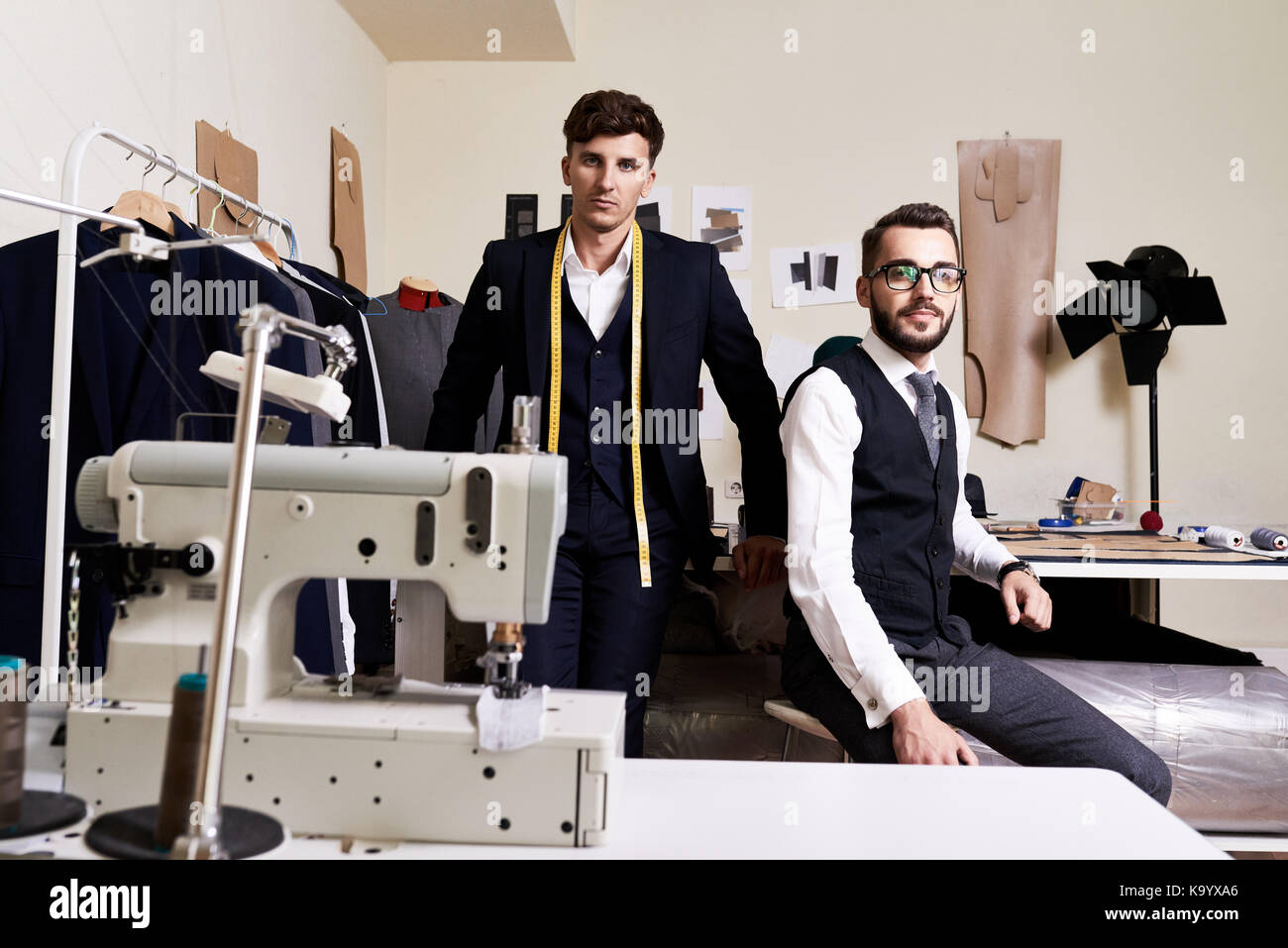 Group Portrait Of Handsome Young Fashion Designers Looking At Camera Stock Photo Alamy