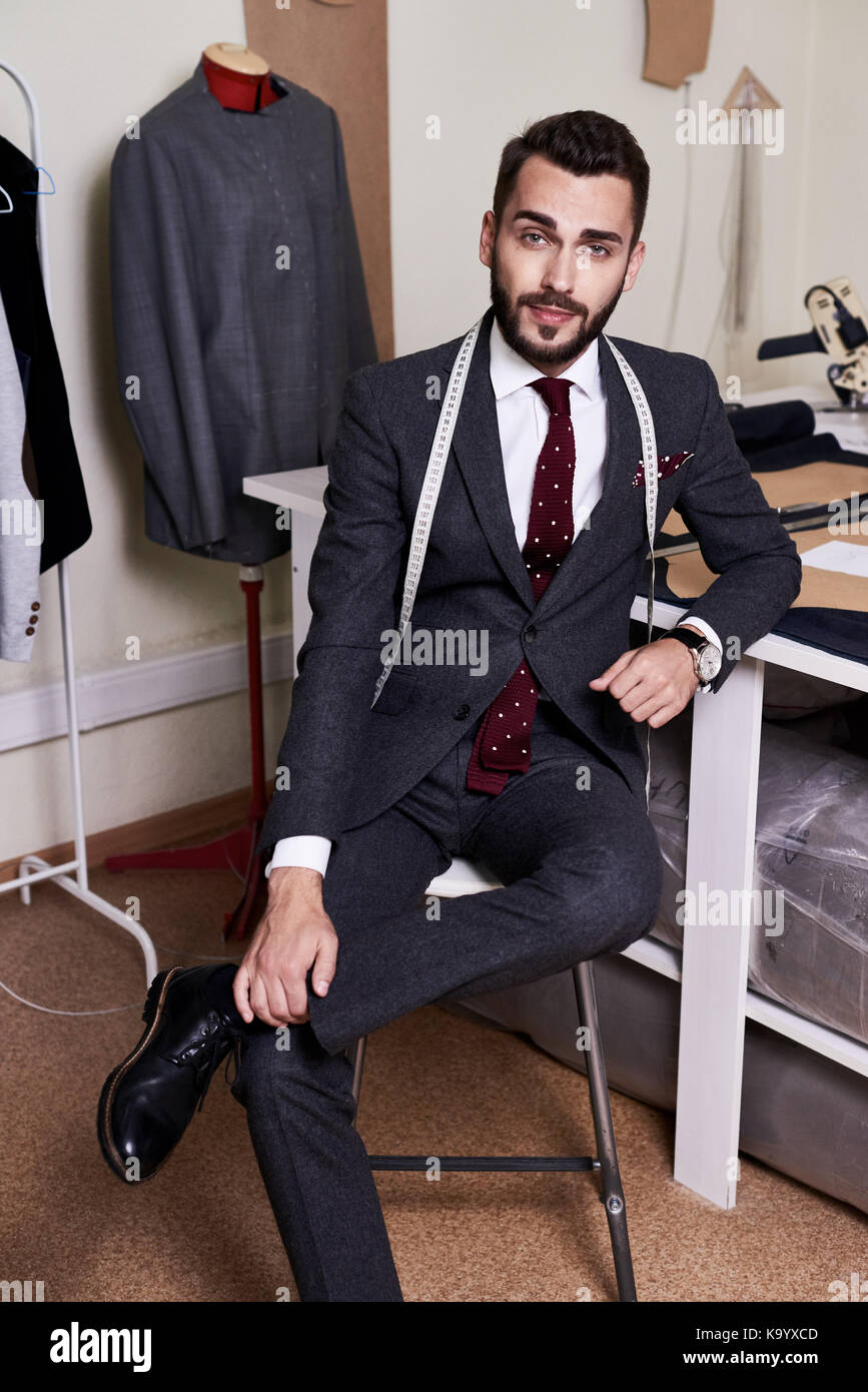 Full Length Portrait Of Stylish Young Fashion Designer In Suit Stock Photo Alamy