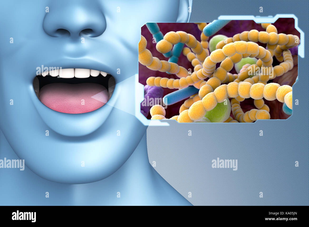 Halitosis Bacteria found in the mouth which can cause halitosis or bad breath. 3D illustration - Stock Image