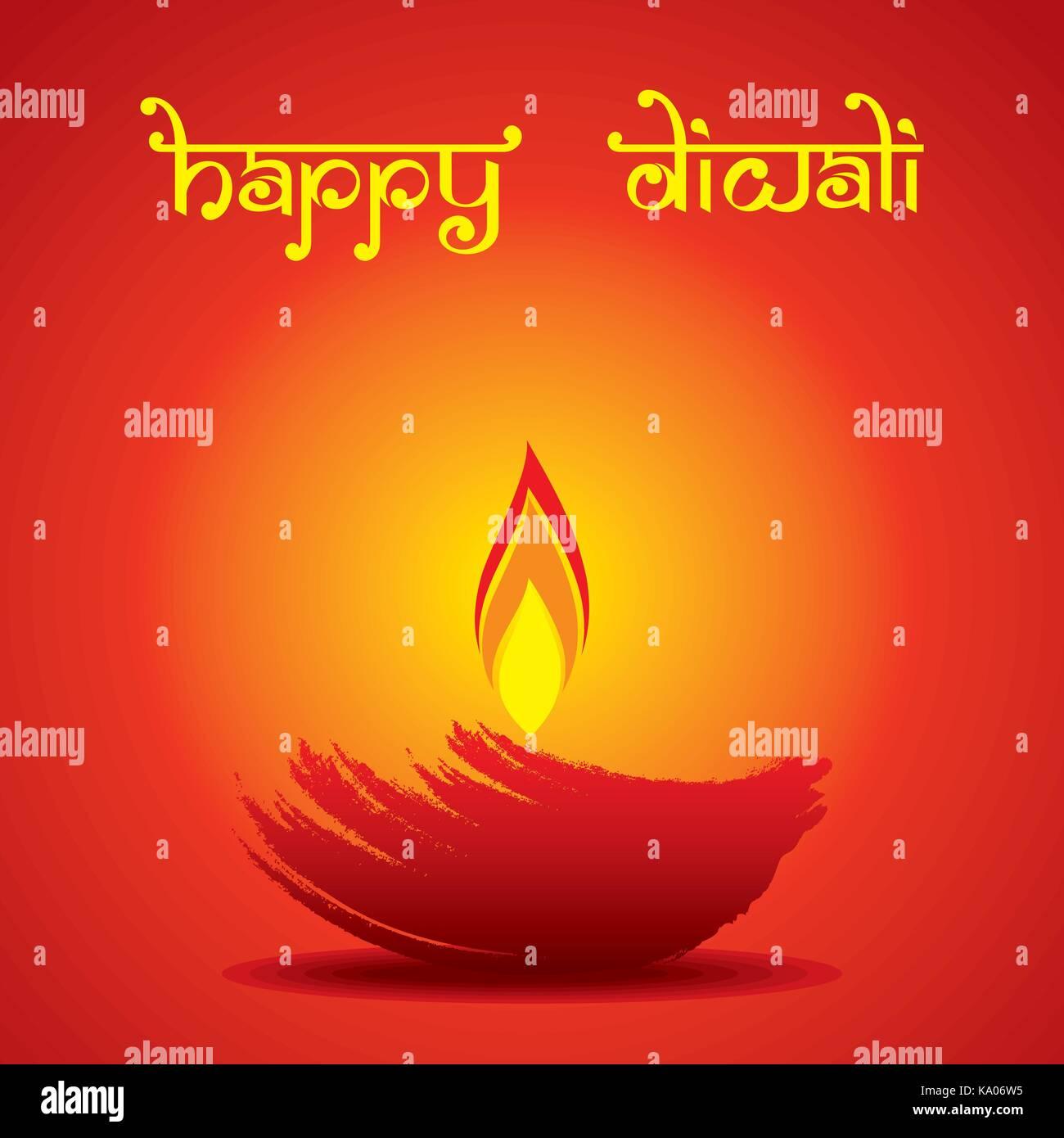 Shiny Diwali Diya Greeting Design Stock Photos Shiny Diwali Diya