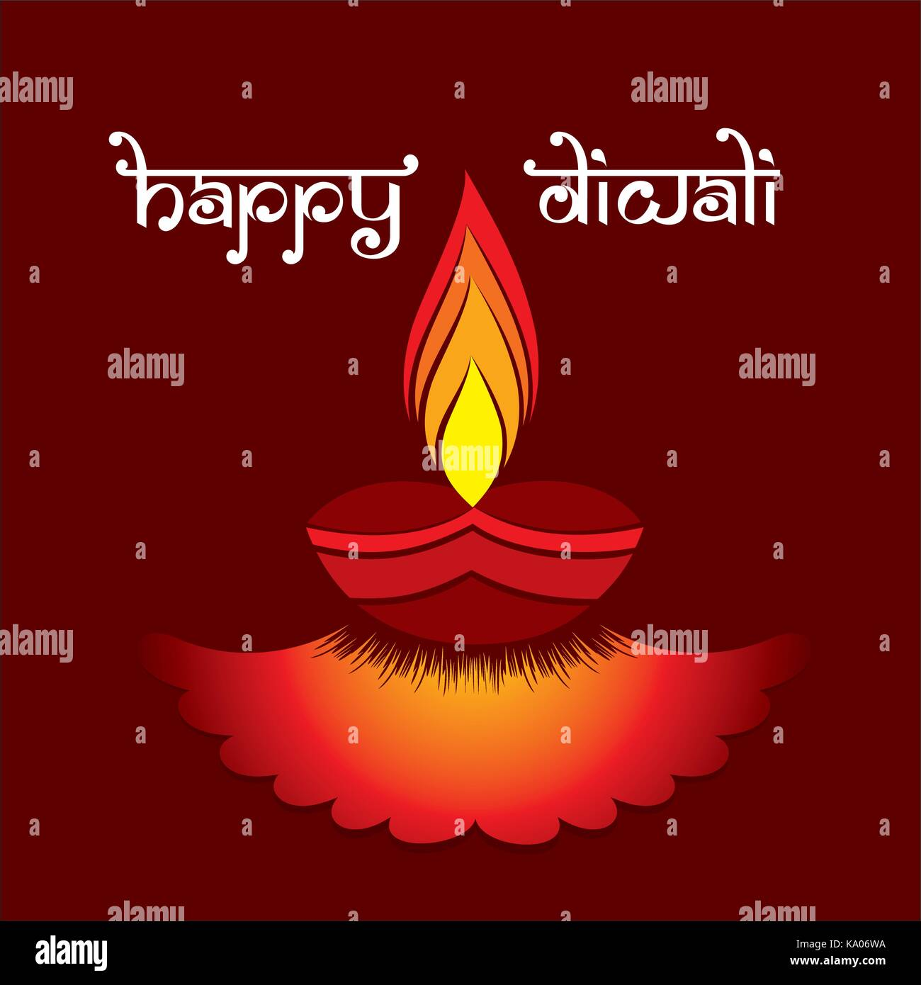 A Creative Greeting Card With Decorated Diya Indian Diwali Festival
