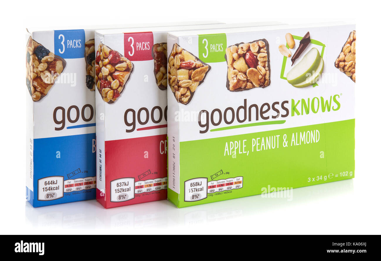 SWINDON, UK - SEPTEMBER 24, 2017: Three Packets of  Goodness Knows Snack Bars on a white background - Stock Image