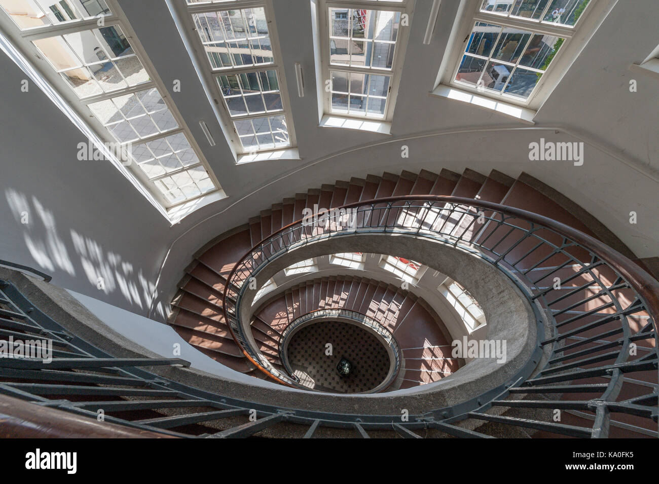 Spiral staircase, main building of the Bauhaus-University, UNESCO World Heritage Site, Weimar, Thuringia, Germany - Stock Image