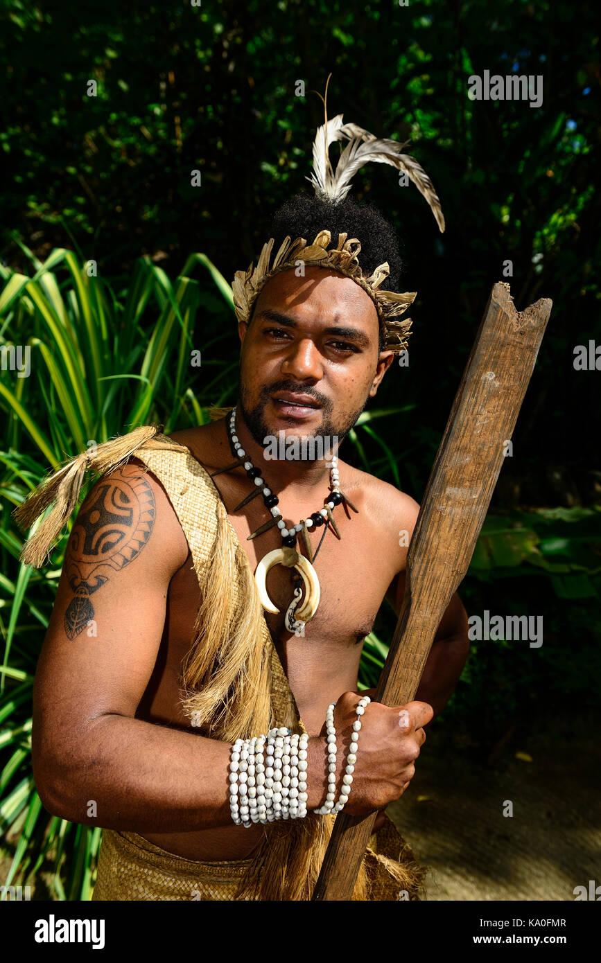 Native Man, Ekasup Cultural Village, Island of Efate, Vanuatu, South Sea, Oceania - Stock Image