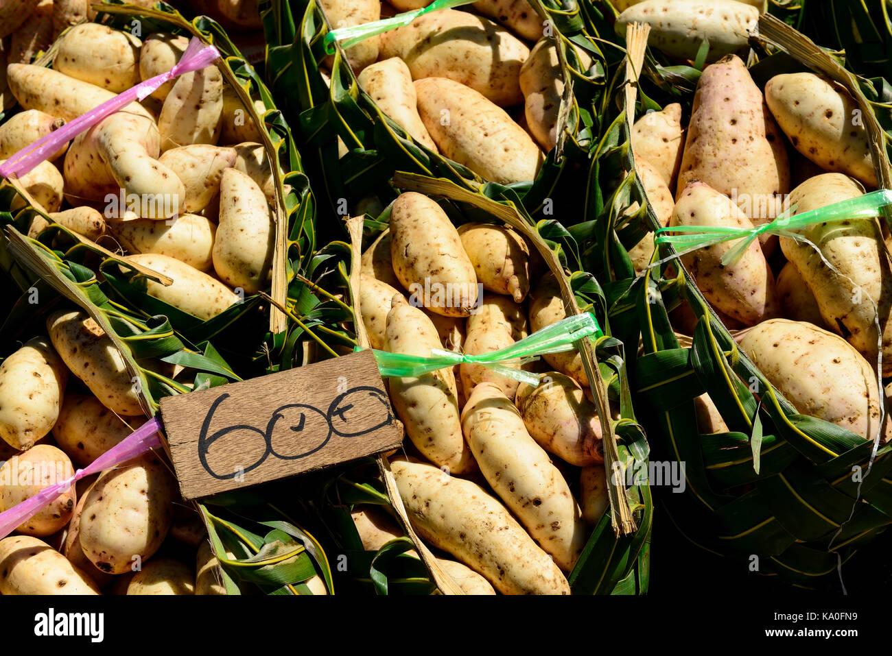 Potatoes on the market in Port Vila, Island of Efate, Vanuatu, South Sea, Oceania - Stock Image