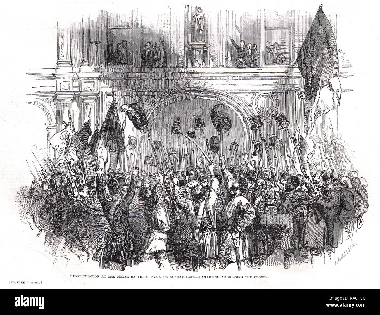 Lamartine addressing the crowd, demonstration at Hôtel de Ville, Paris, France, French Revolution of 1848 - Stock Image