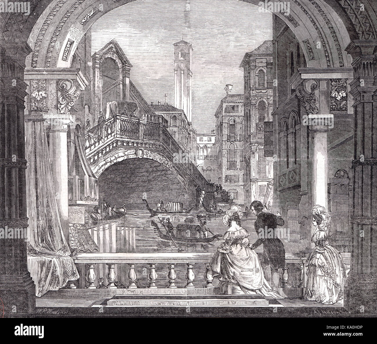 New picture-model, Rialto bridge, Venice, Italy, painted for Mayor's day 1848, Guildhall, London - Stock Image