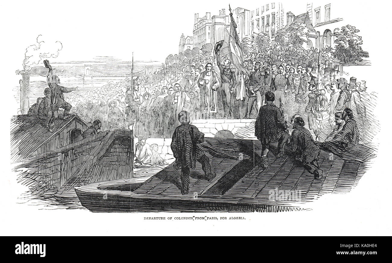 Departure of French Colonists from Paris for Algeria in 1848 - Stock Image