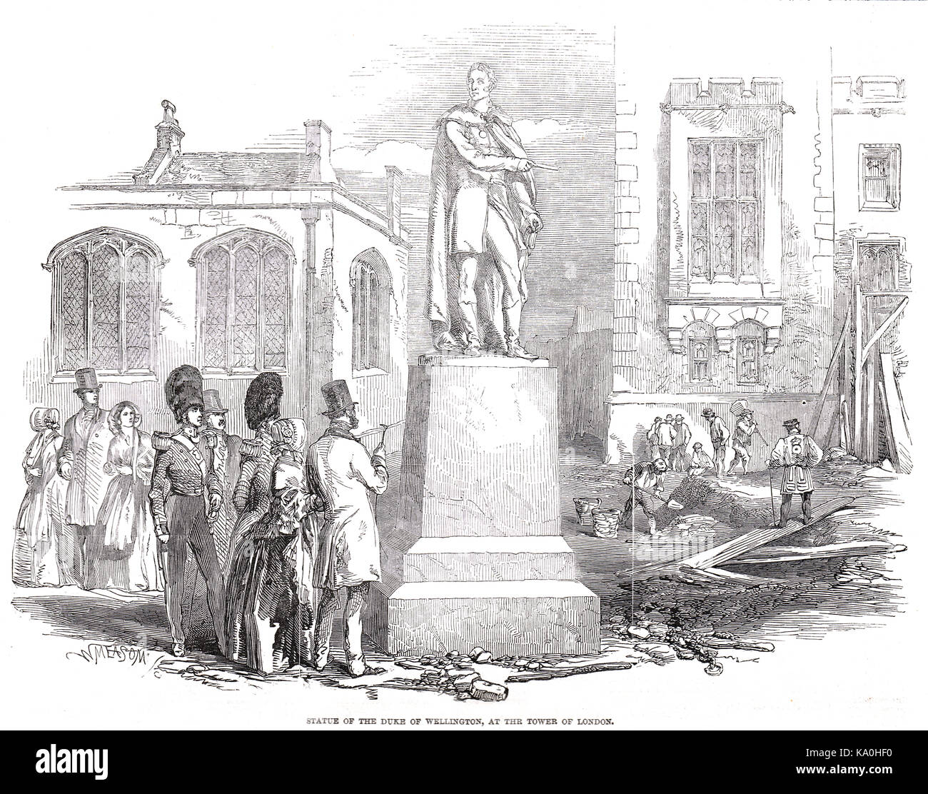 Statue of Duke of Wellington at the Tower of London, 1848 - Stock Image