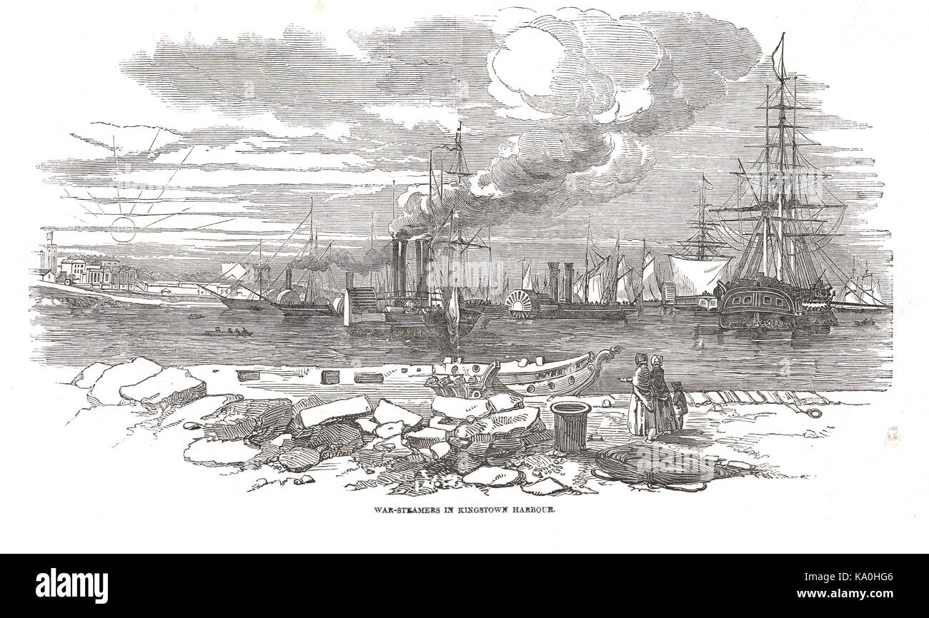 War-steamers in Kingstown Harbour (now Dún Laoghaire), Response to   Young Irelander Rebellion of 1848 - Stock Image