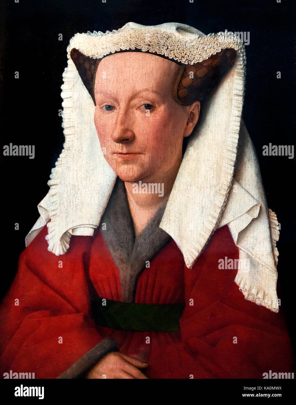 Portrait of Margareta van Eyck by Jan van Eyck (c.1390-1441), oil on panel, 1439. Van Eyck was an early Netherlandish - Stock Image
