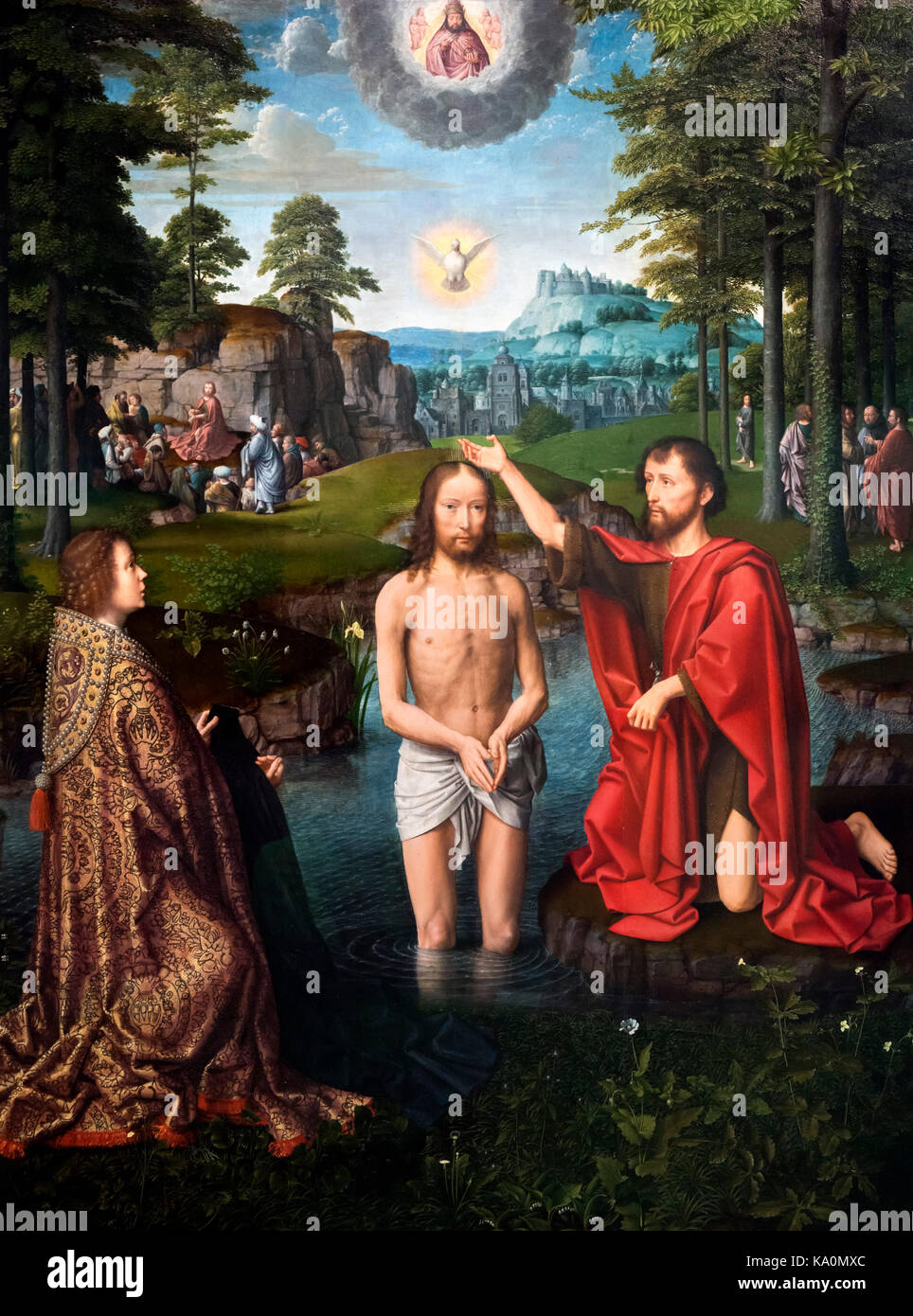 The Baptism of Christ, the central panel of a triptych by Gerard David (c.1460-1523), oil on panel, c.1505. Gerard - Stock Image