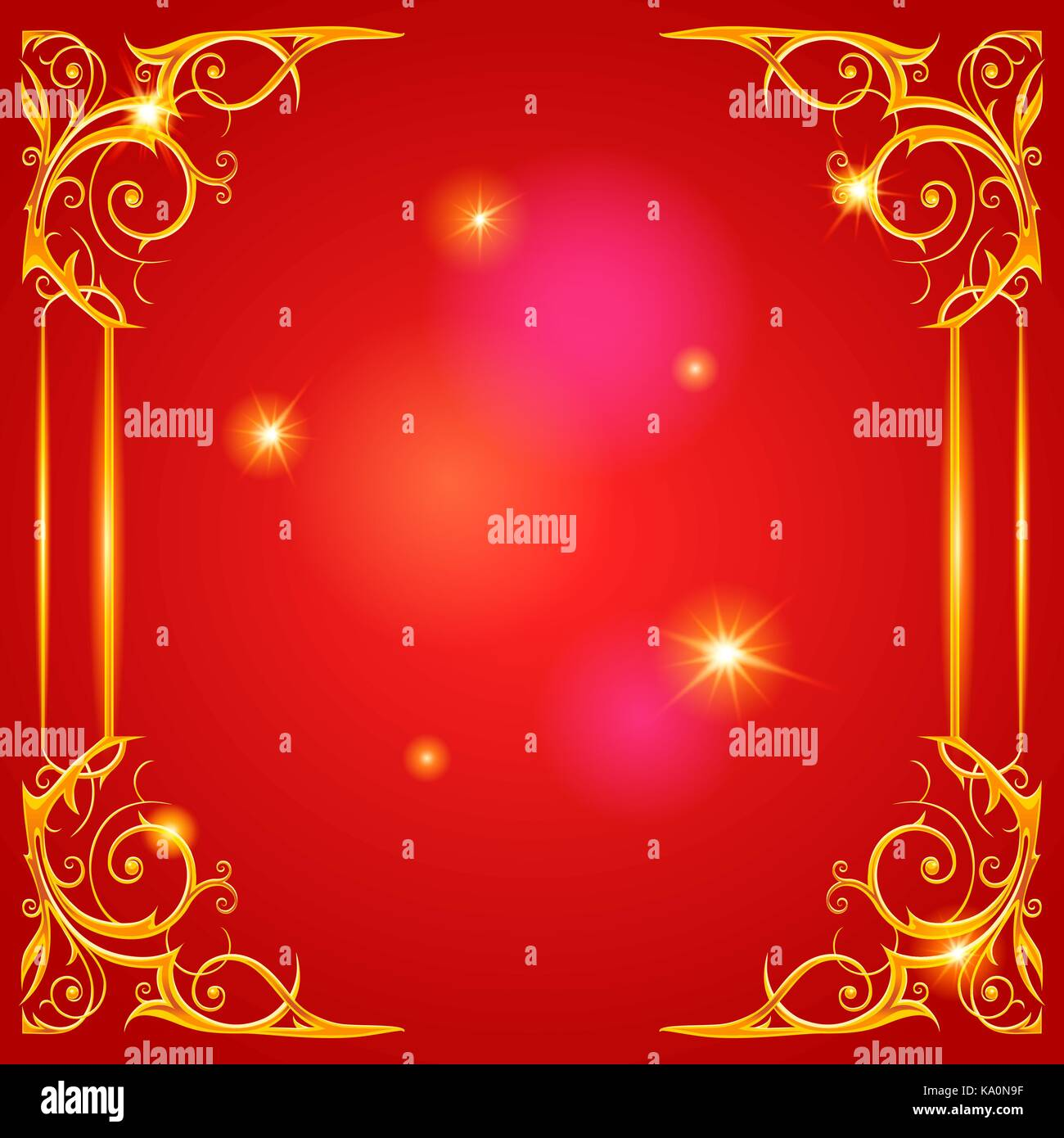 Gold holiday frame on red - Stock Vector