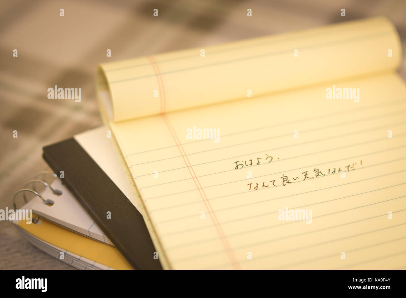 Japanese Learning New Language Writing Greetings On The Notebook