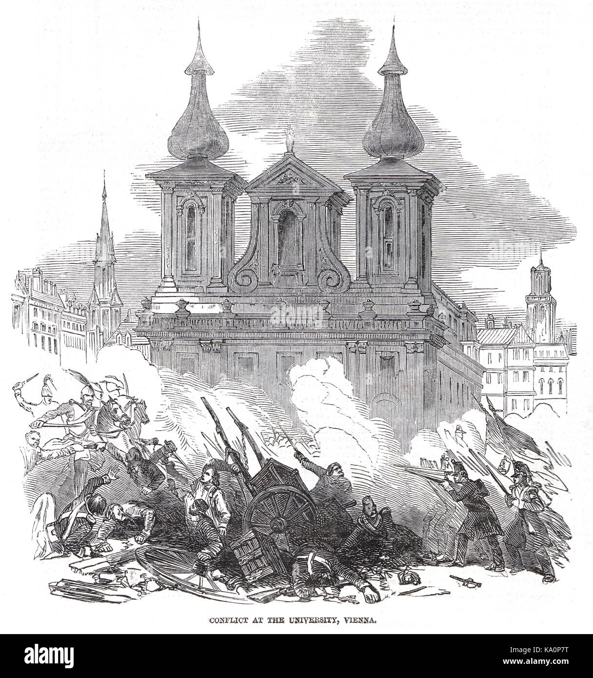 Conflict At The University Of Vienna, Austrian Revolution Of 1848 - Stock Image