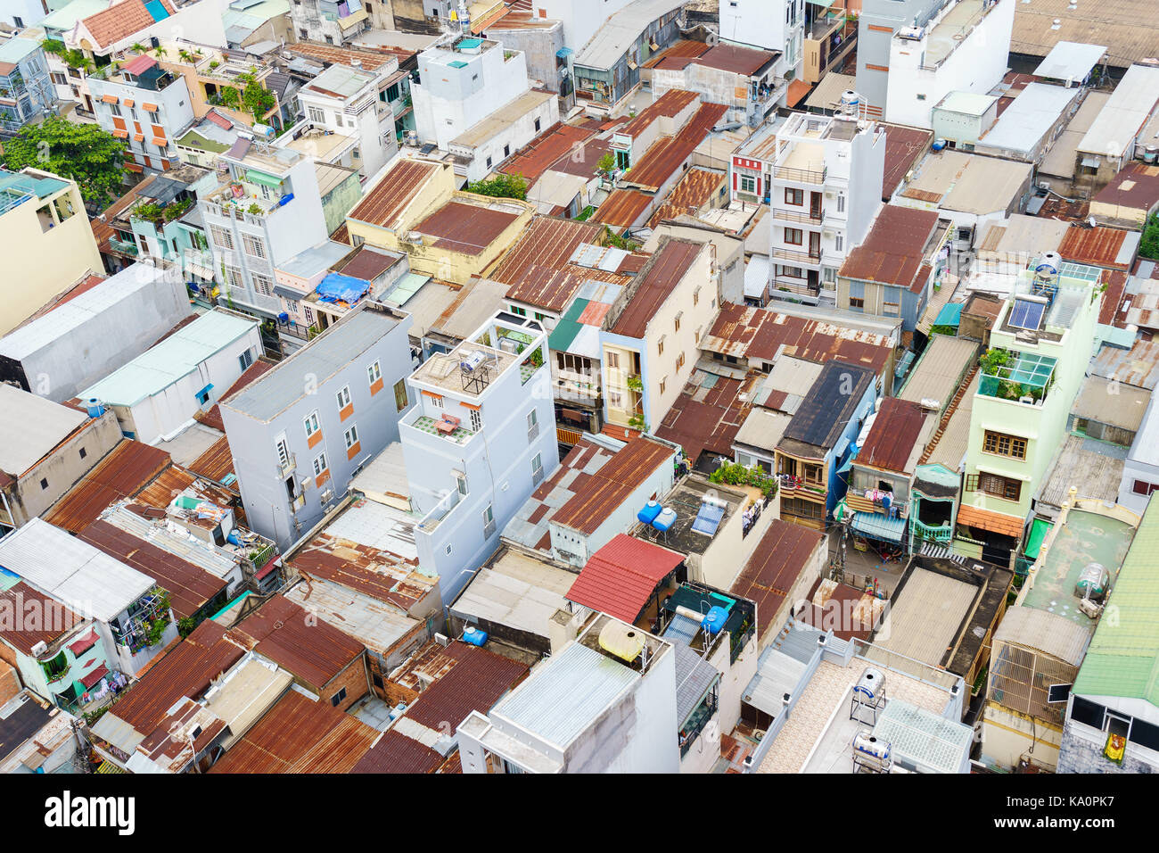Colorful slum houses at Ho Chi Minh city (view from top), Vietnam. Ho Chi Minh city (aka Saigon) is the largest Stock Photo