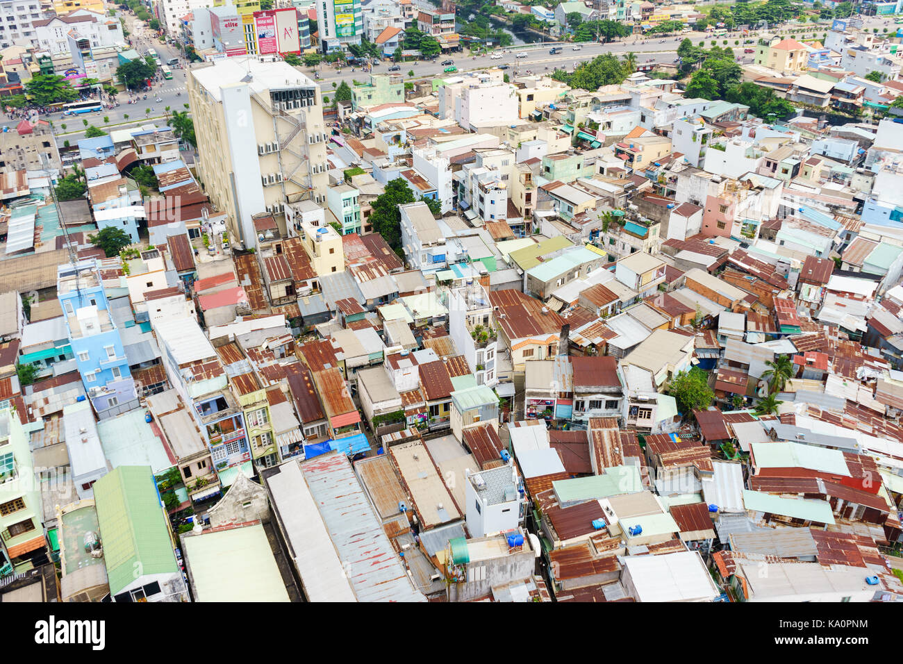 Ho Chi Minh city (or Saigon) skyline with colorful house, Vietnam. Saigon is the biggest city and economic center Stock Photo