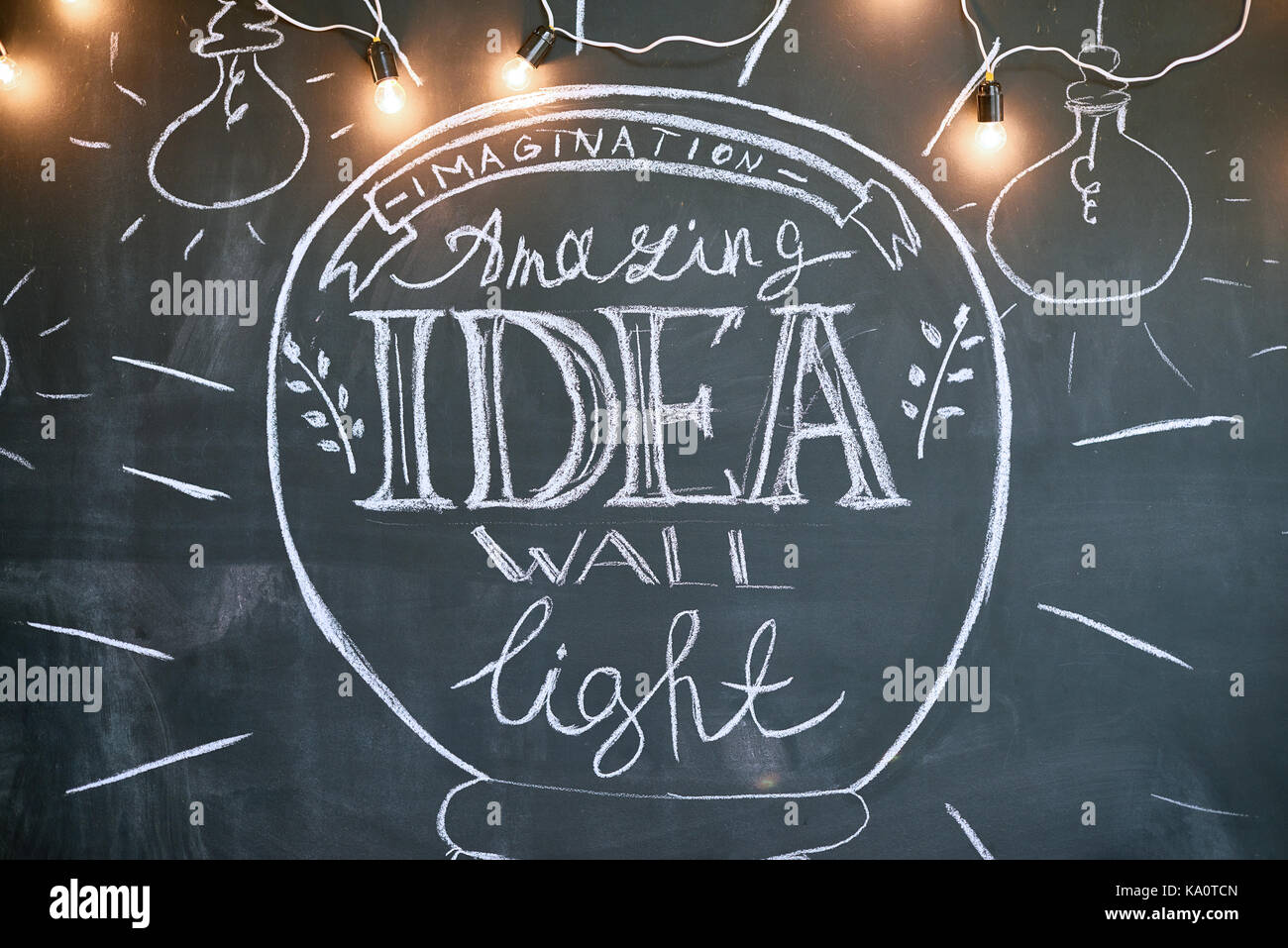 Background image of inspirational chalk drawing on wall in modern apartment, copy space - Stock Image