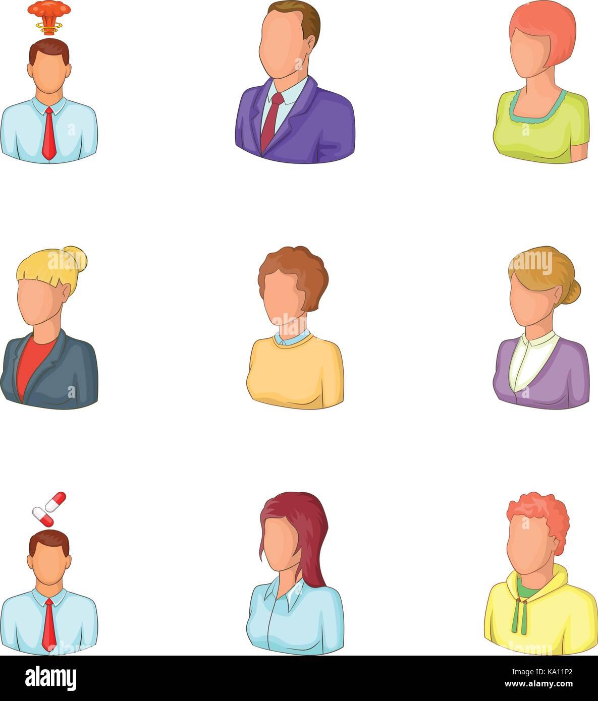 Personage icons set, cartoon style - Stock Image
