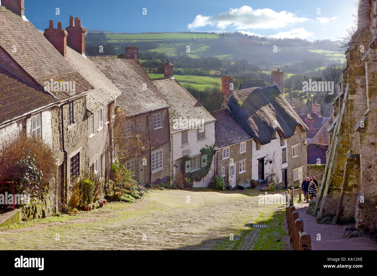 Hovis advert Gold Hill, Dorset - Stock Image