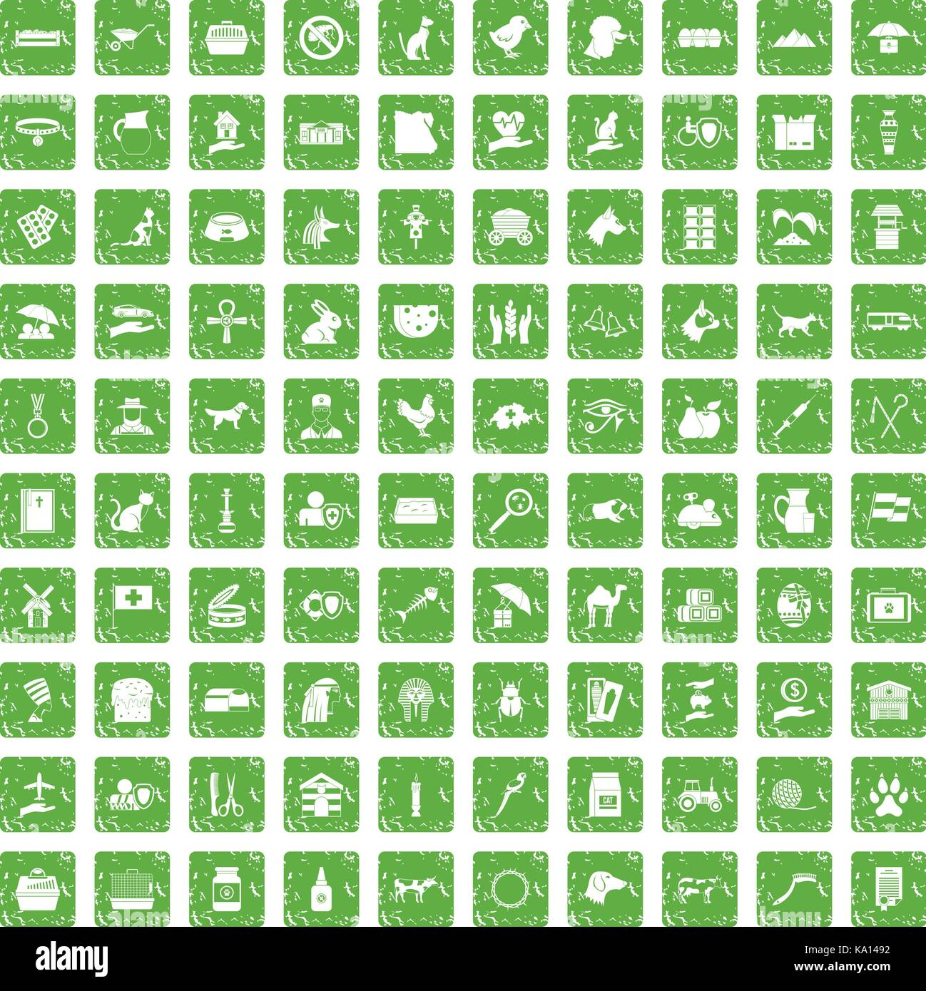 100 pets icons set grunge green - Stock Image