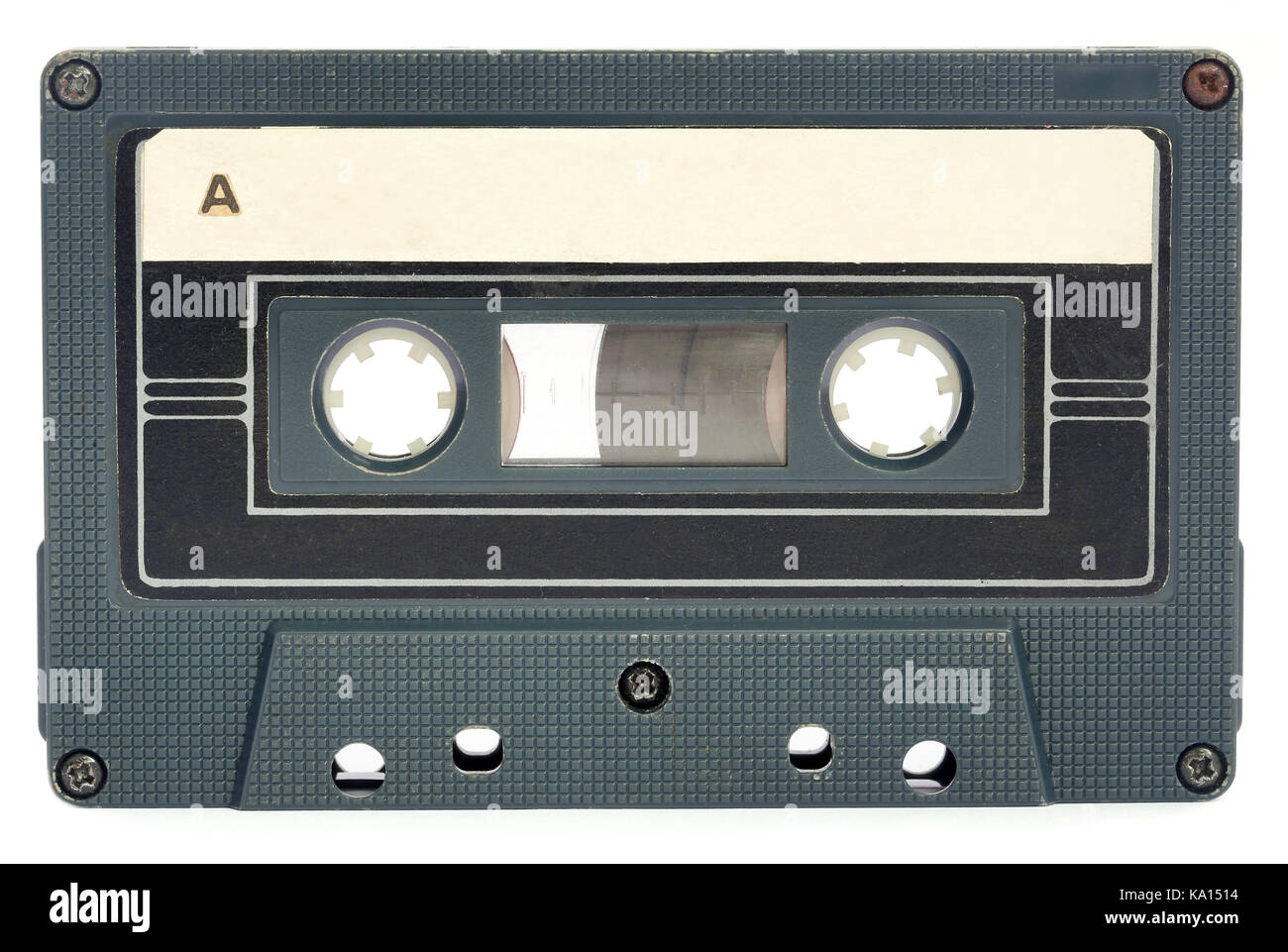 Old audio cassette over white background - Stock Image